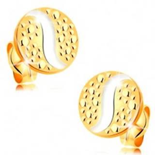 Zlaté 14K náušnice - kruh s bodkami a vlnkou z bieleho zlata, puzetky