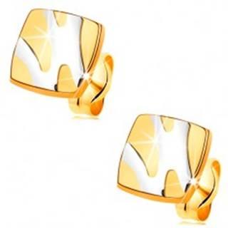 Zlaté 14K náušnice - lesklý štvorec s asymetrickými líniami z bieleho zlata