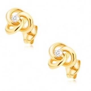 Zlaté náušnice 375 - prepojené prstence so zirkónom uprostred