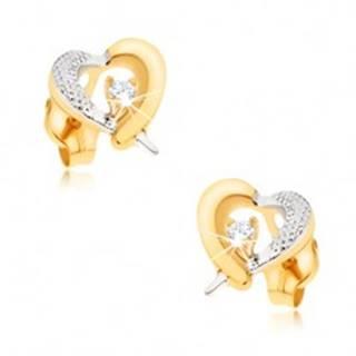 Zlaté náušnice 375 - žlto-biely obrys srdca, gravírovanie, zirkón