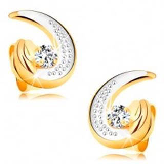 Zlaté náušnice 585 - čiastočná dvojfarebná kontúra slzy, okrúhly číry diamant