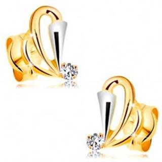 Zlaté náušnice 585 s čírym diamantom - kontúry slzičiek, rozšírený pás z bieleho zlata