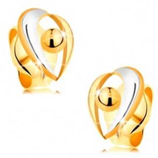 Zlaté puzetové náušnice 585 - oblúčiky v bielom a žltom zlate, gulička