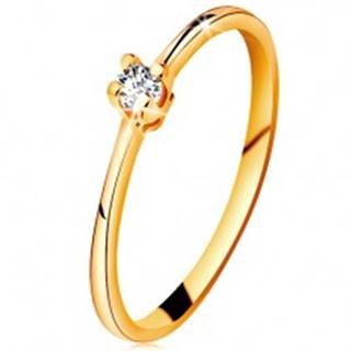 Zlatý prsteň 585 - ligotavý číry briliant v štvorcípom kotlíku, zúžené ramená - Veľkosť: 49 mm
