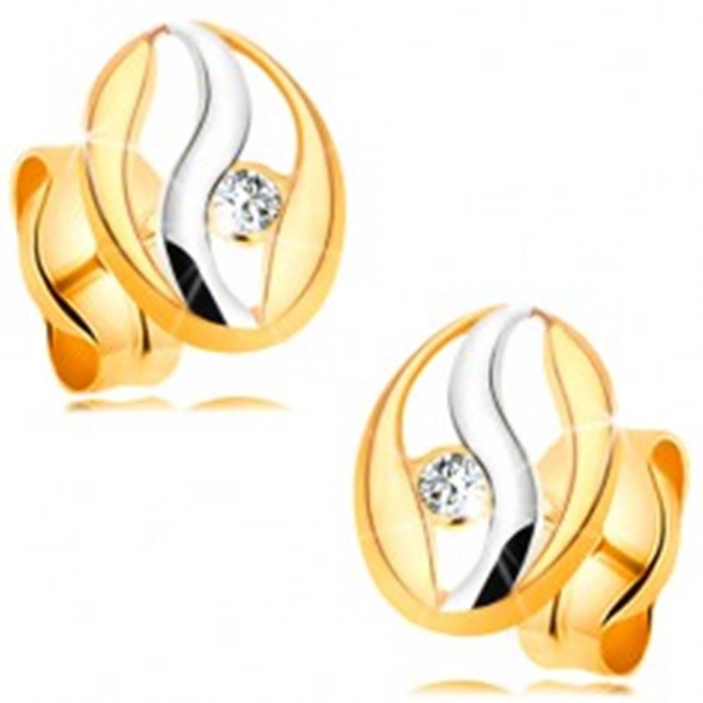 Šperky eshop Diamantové náušnice v 14K zlate - obrys oválu s vlnkou z bieleho zlata, briliant