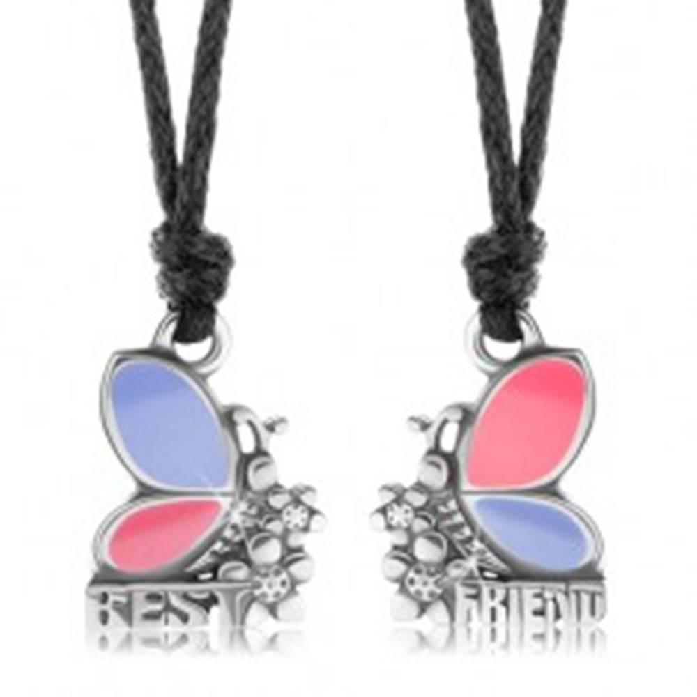 Šperky eshop Dva náhrdelníky pre priateľov, ružovo-fialové motýle, kvietky, BEST FRIEND