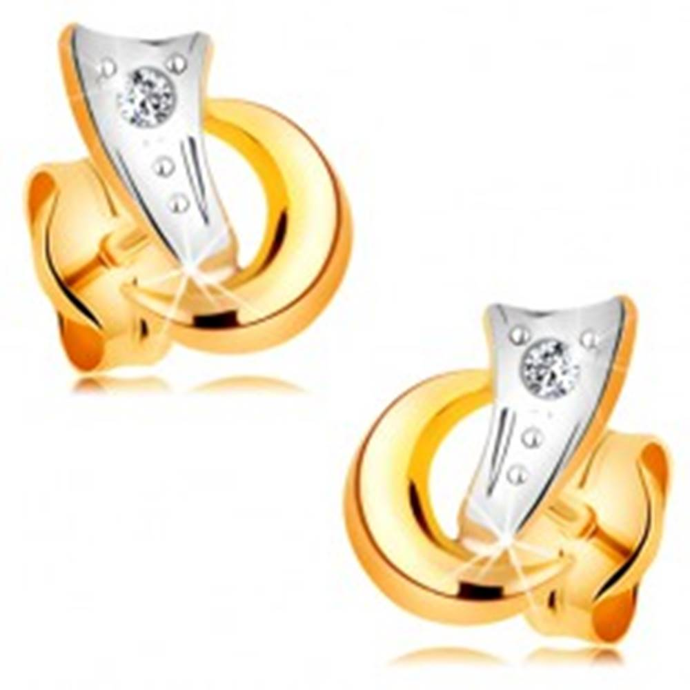 Šperky eshop Dvojfarebné náušnice v 14K zlate - dva oblúčiky a trblietavý diamant čírej farby