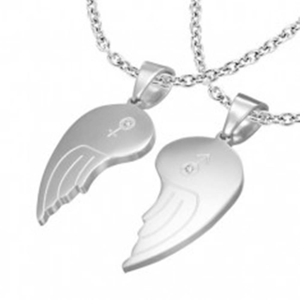 Šperky eshop Dvojprívesok z ocele 316L, anjelské krídla, symboly ONA a ON, číre zirkóny,