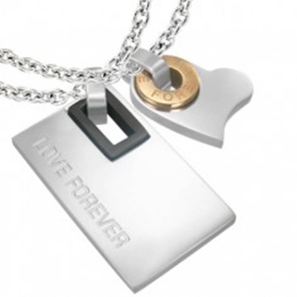 Šperky eshop Dvojprívesok z ocele 316L, tri odtiene, obdĺžnik, srdiečko s kruhom, nápis