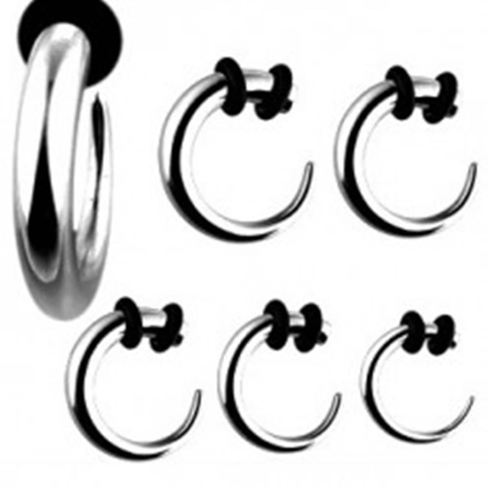Šperky eshop Expader z chirurgickej ocele - hák striebornej farby s čiernymi gumičkami - Hrúbka piercingu: 1,6 mm