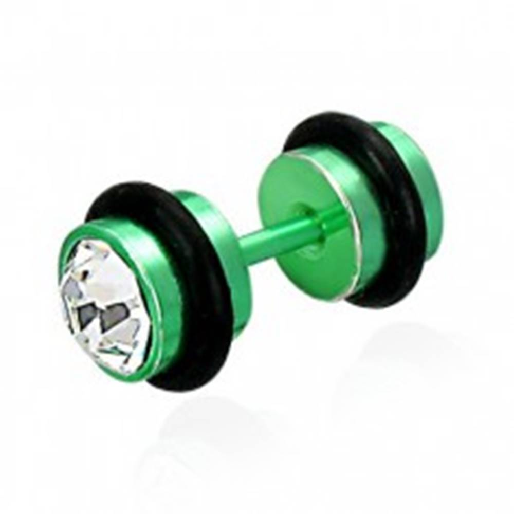 Šperky eshop Falošný piercing zelený so zirkónmi
