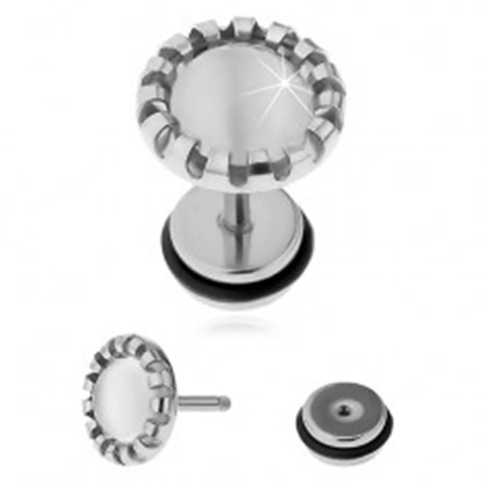 Šperky eshop Falošný plug do ucha z ocele 316L, biely kameň - syntetické mačacie oko