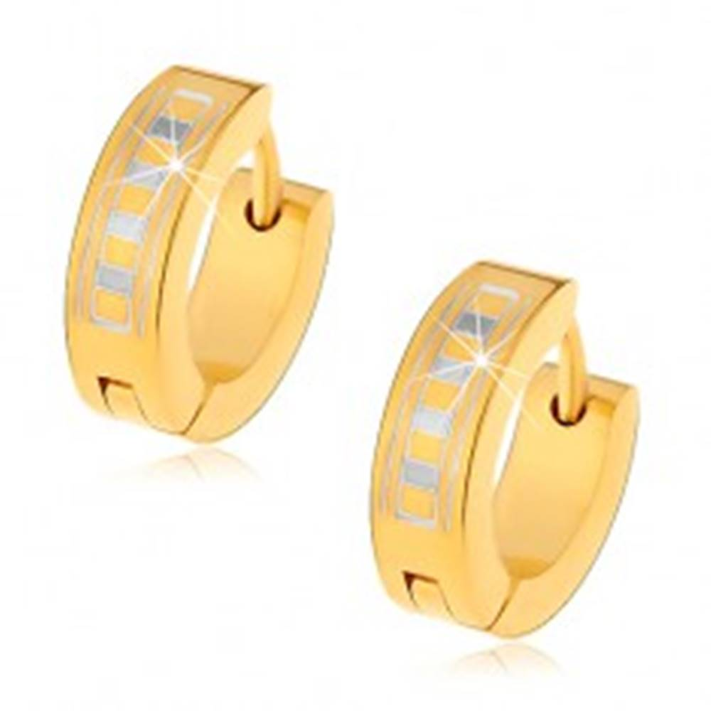 Šperky eshop Lesklé okrúhle náušnice z ocele 316L v zlatom odtieni s gréckym vzorom