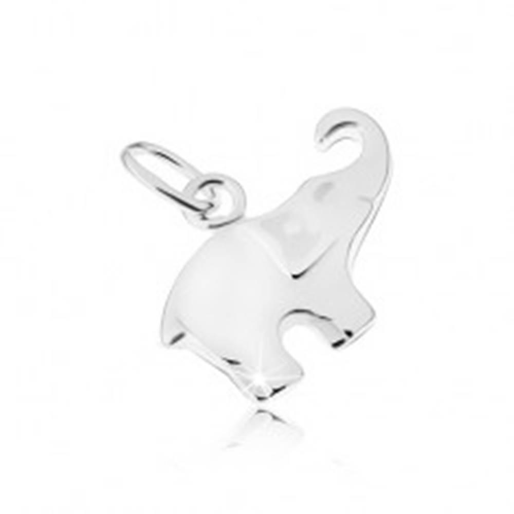 Šperky eshop Lesklý a plochý prívesok slona, striebro 925