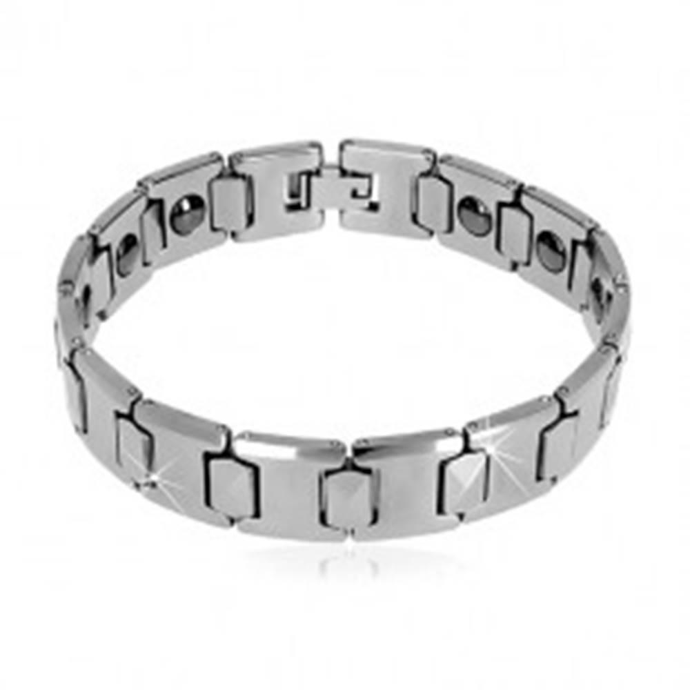Šperky eshop Magnetický náramok wolfrámový s brúseným obdĺžnikom