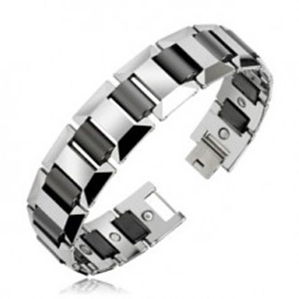 Šperky eshop Magnetický náramok wolfrámový, strieborný odtieň s čiernymi valčekmi