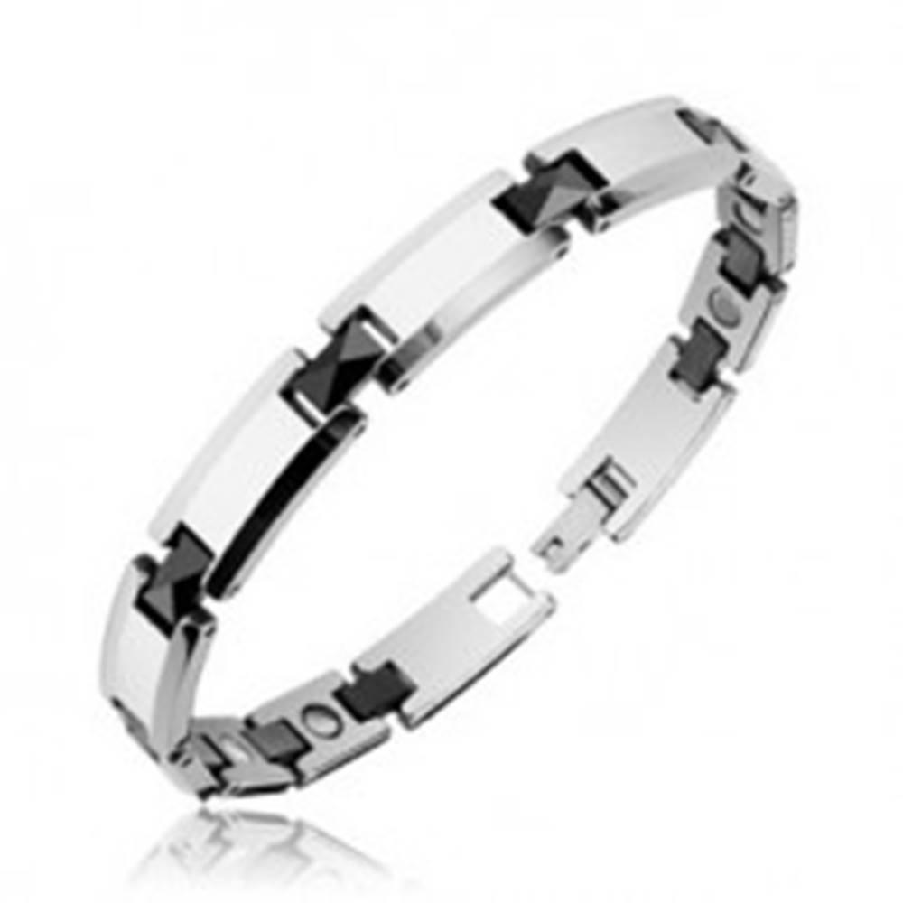 Šperky eshop Magnetický náramok z tungstenu, obdĺžnikové články s čiernymi hranolmi - Šírka: 10 mm