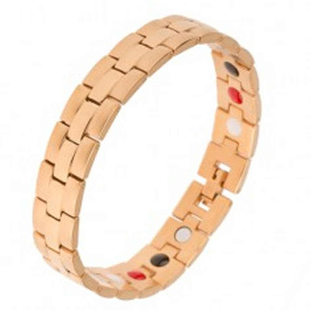 Šperky eshop Magnetický oceľový náramok zlatej farby, matné a lesklé prúžky