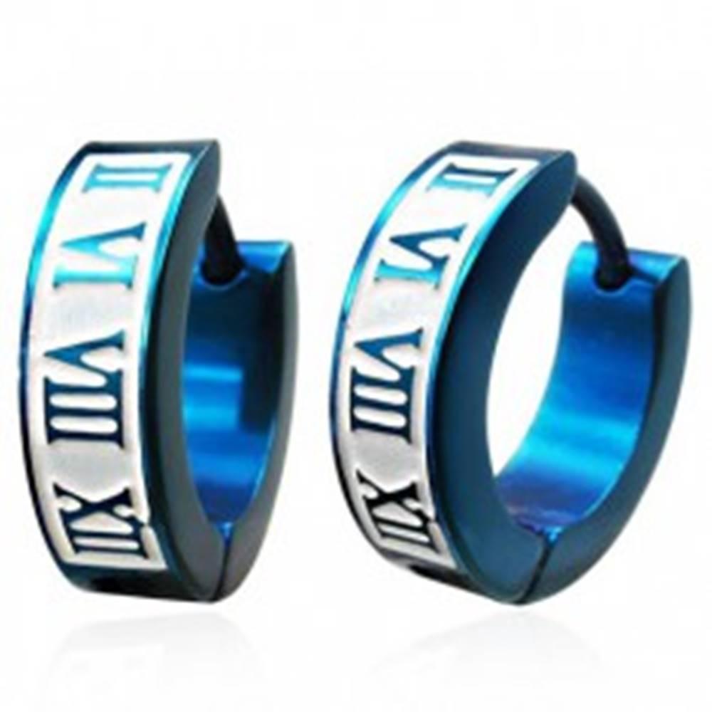 Šperky eshop Modré oceľové náušnice s rímskymi čislicami, anodizované