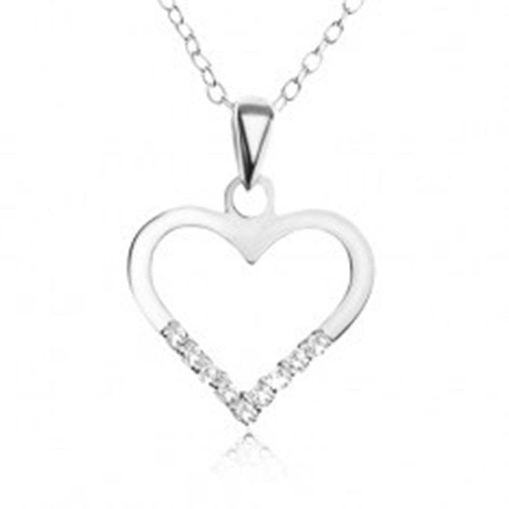 Šperky eshop Nastaviteľný náhrdelník - retiazka, obrys srdca, číre zirkóniky, striebro 925