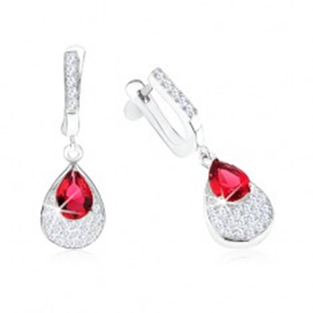 Šperky eshop Náušnice striebro 925, prívesok s červeným zirkónom, slza, číre kamienky