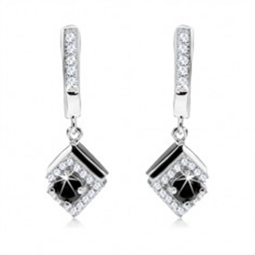 Šperky eshop Náušnice - striebro 925, visiaci kosoštvorec, čierny zirkón, číre kamienky