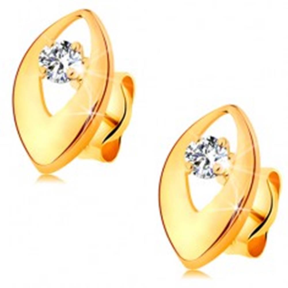 Šperky eshop Náušnice v žltom 14K zlate - lesklé zrnko s výrezom a čírym okrúhlym zirkónom