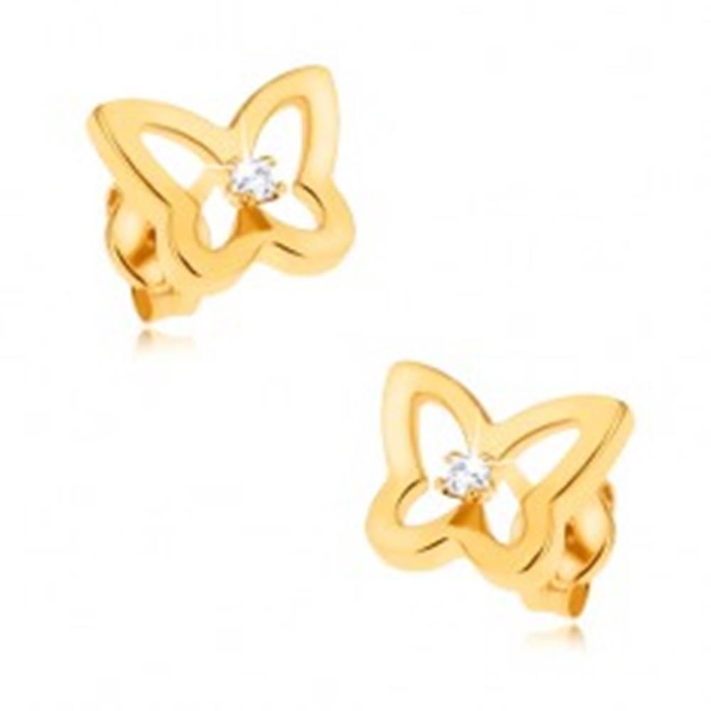 Šperky eshop Náušnice v žltom 9K zlate - trblietavá kontúra motýľa, zirkón v strede