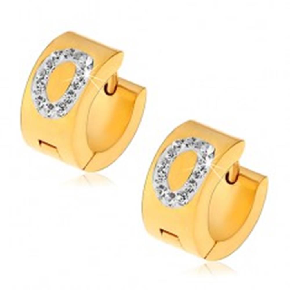 Šperky eshop Náušnice z chirurgickej ocele zlatej farby, písmeno O vykladané čírymi zirkónmi