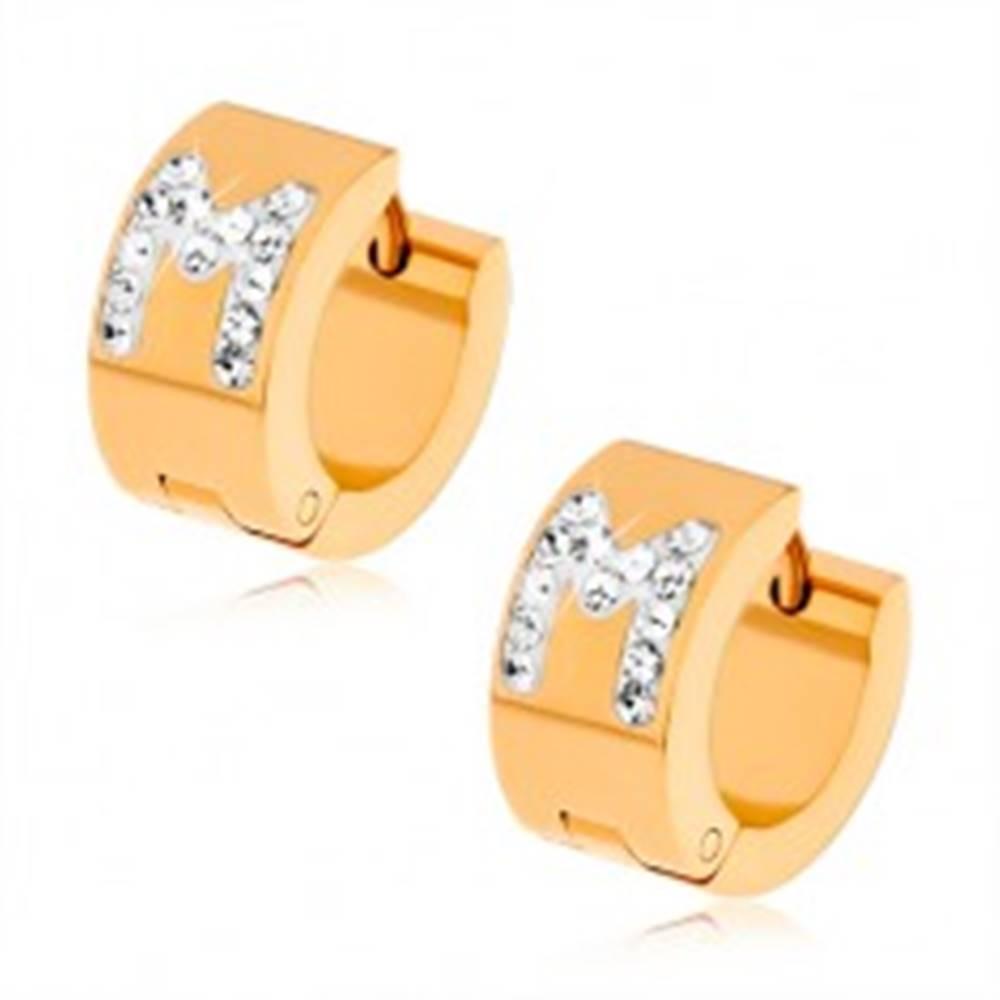 Šperky eshop Náušnice z ocele 316L zlatej farby, biele písmeno M s čírymi zirkónikmi