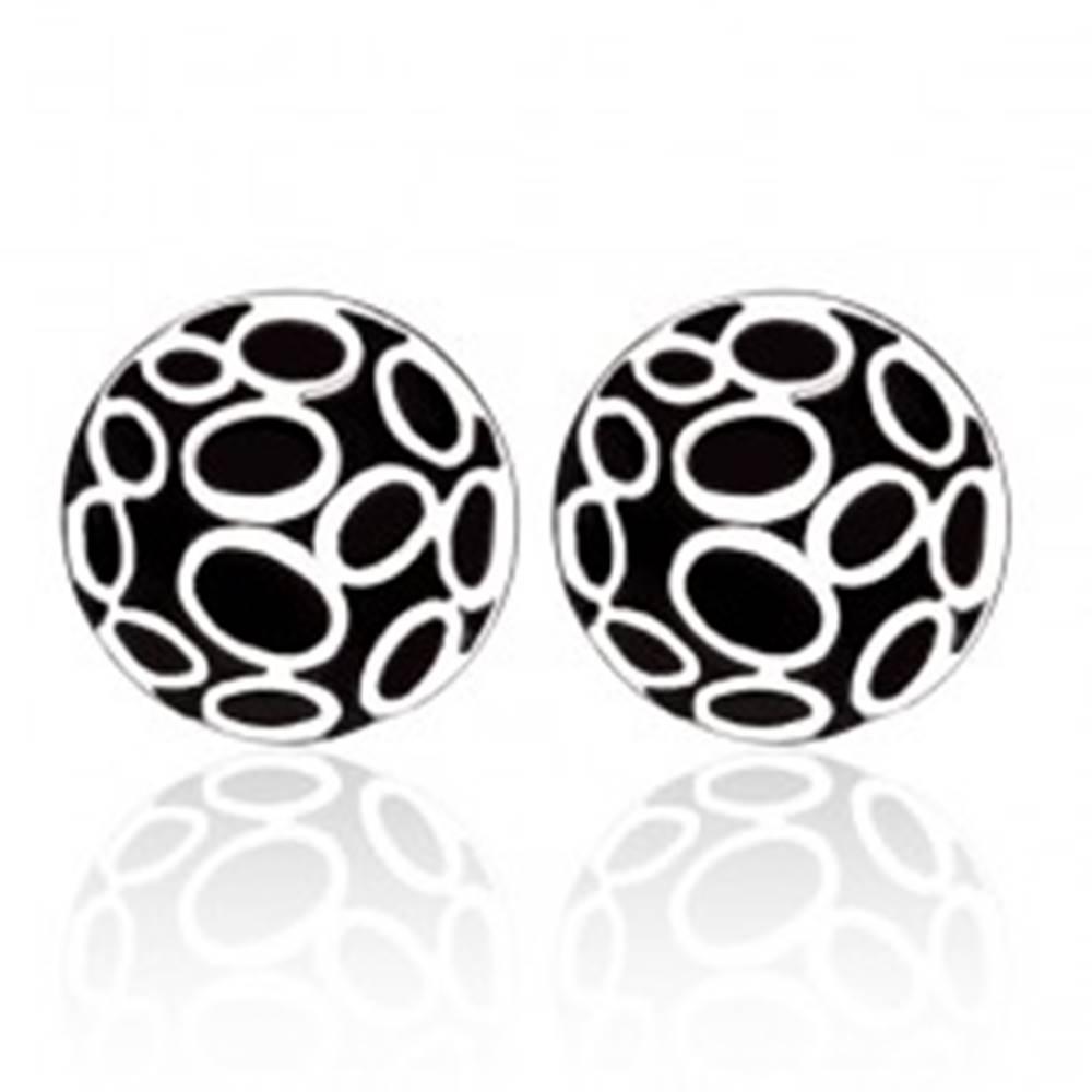 Šperky eshop Náušnice z ocele - čierne kruhy s oválmi striebornej farby