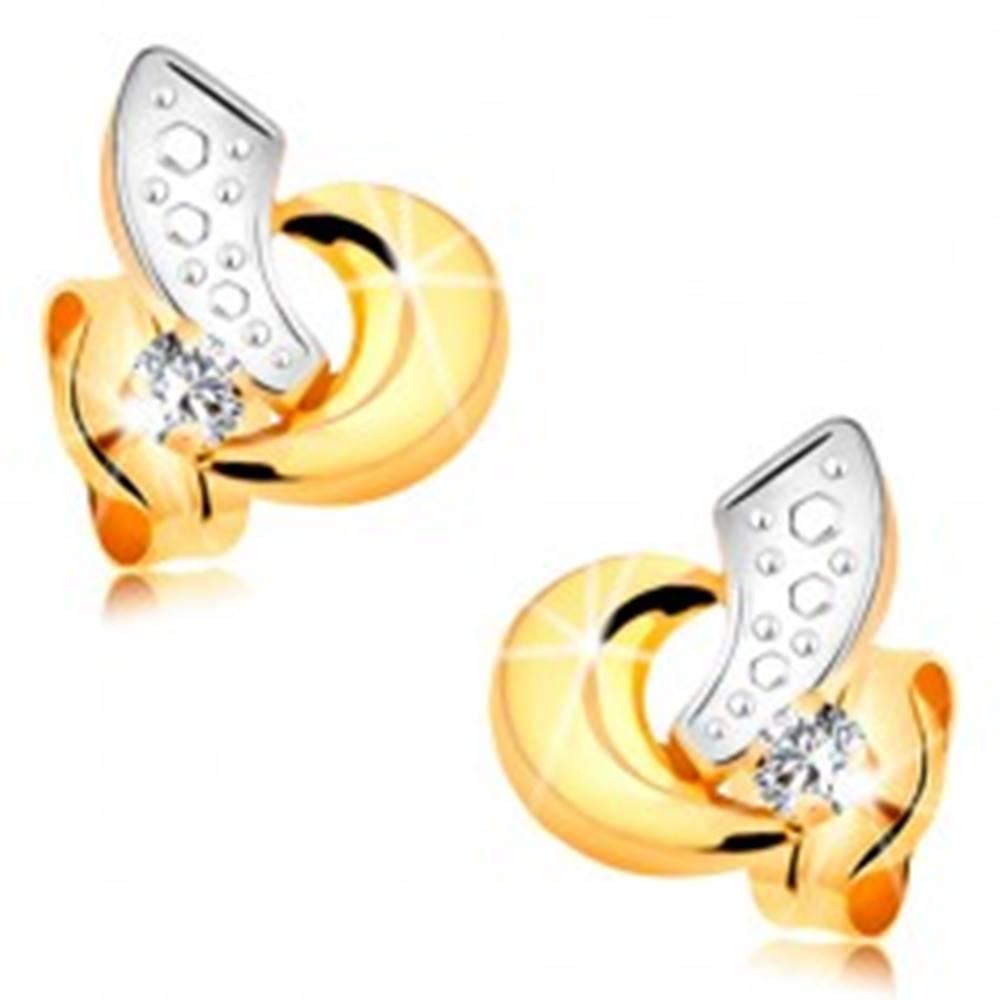 Šperky eshop Náušnice zo 14K zlata - dvojfarebné oblúčiky a ligotavý zirkónik čírej farby