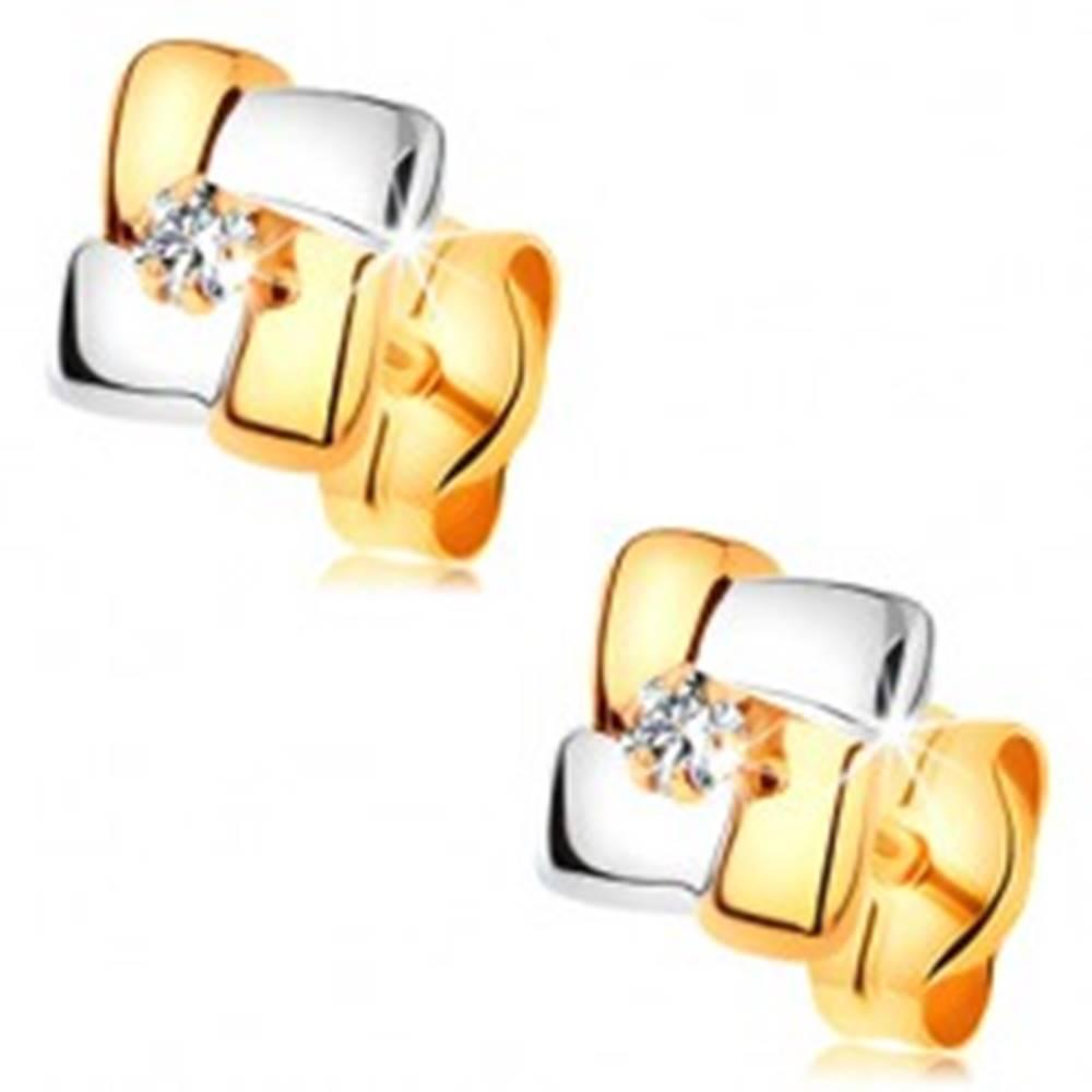 Šperky eshop Náušnice zo 14K zlata - dvojfarebné štvorce s brúseným diamantom v strede
