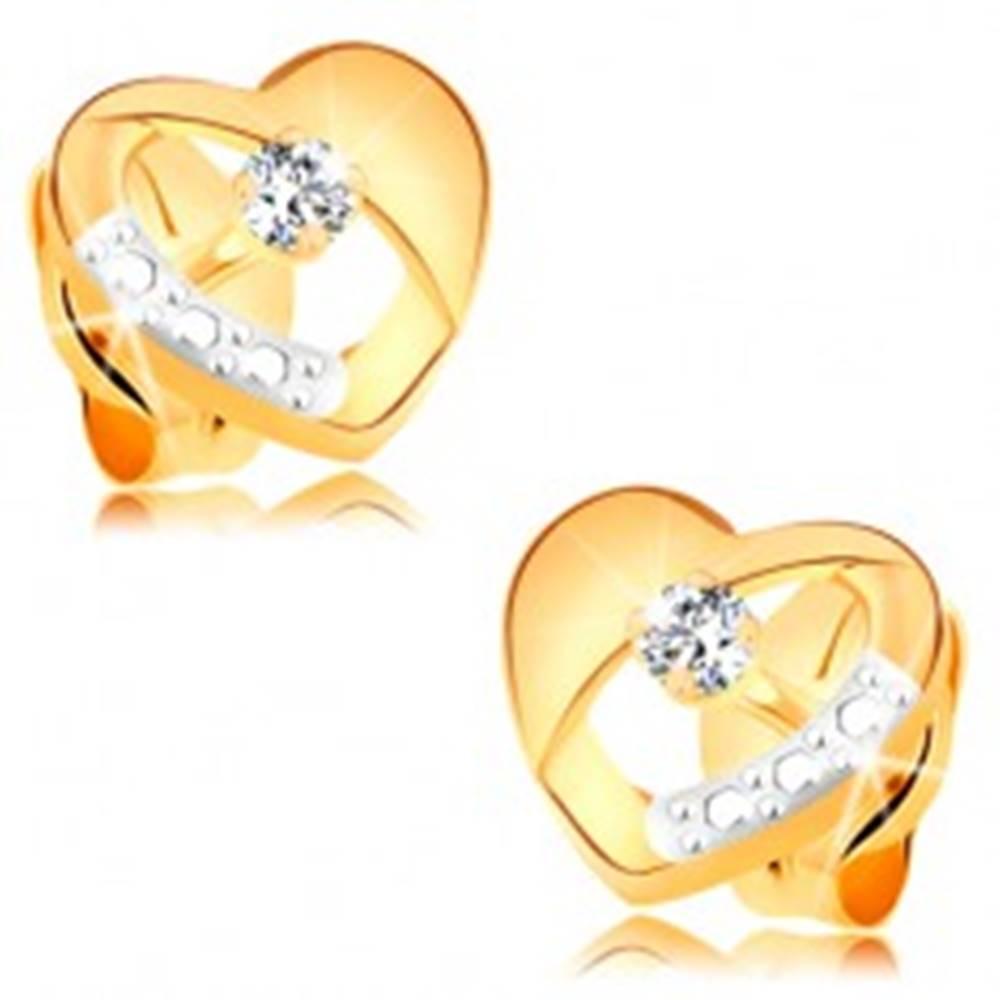 Šperky eshop Náušnice zo 14K zlata - súmerné dvojfarebné srdiečko s diamantom a výrezom