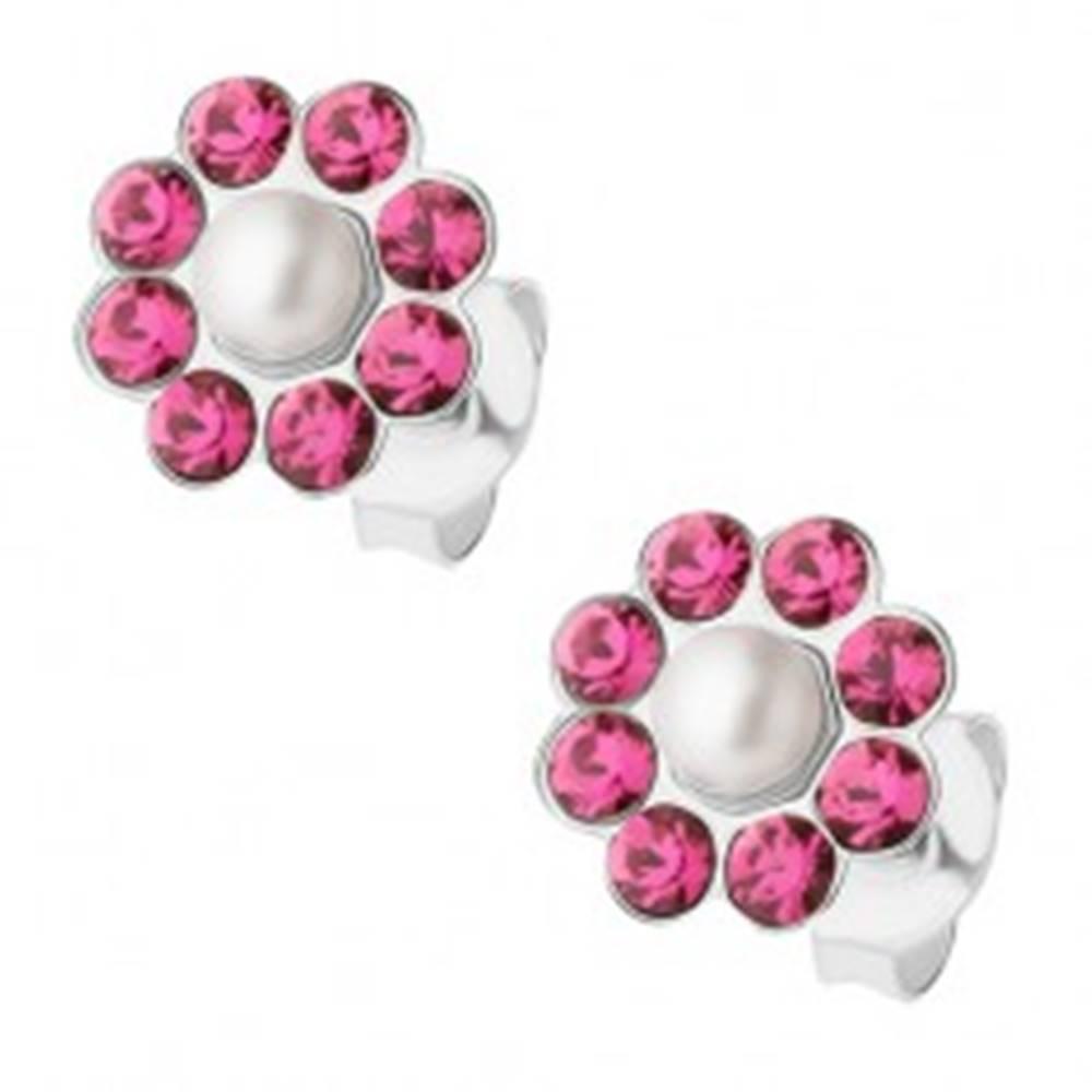 Šperky eshop Náušnice zo striebra 925, kvietok s bielou perličkou, ružové krištáliky