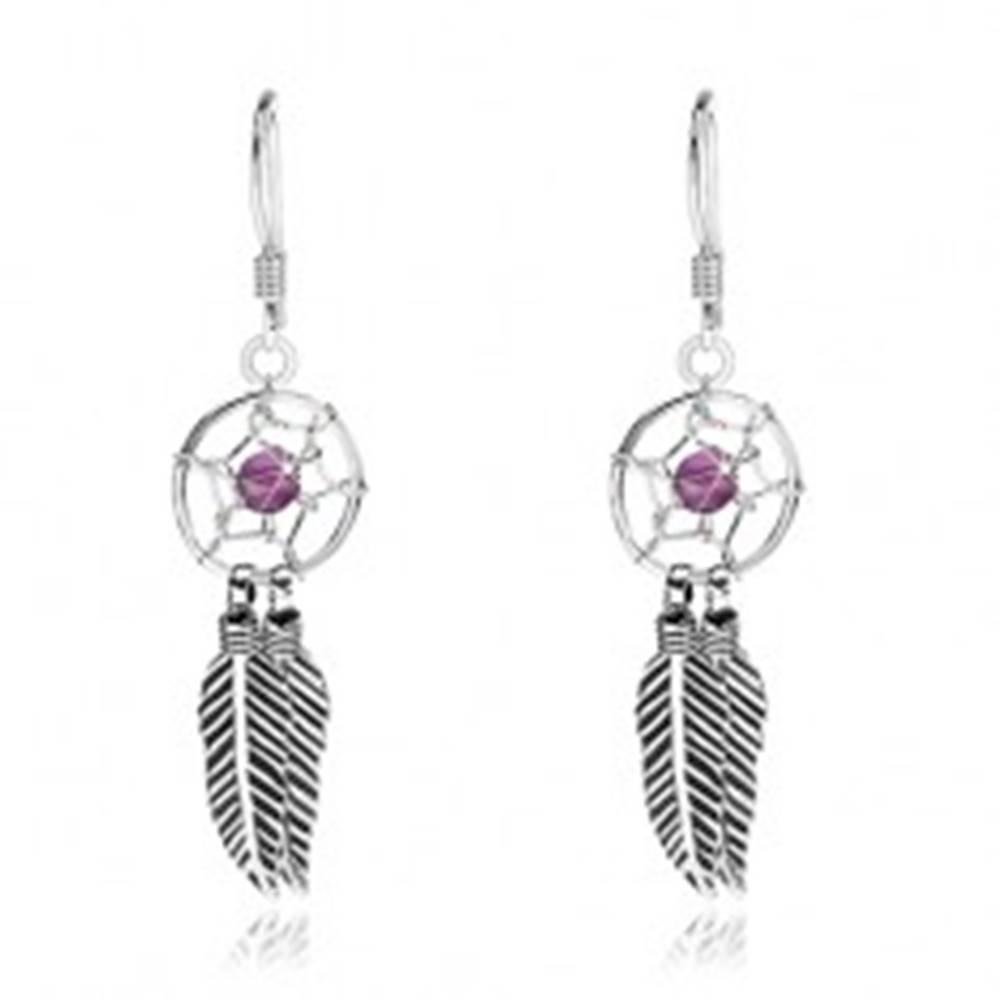 Šperky eshop Náušnice zo striebra 925, lapač snov s fialovou korálkou a pierkami, 10 mm