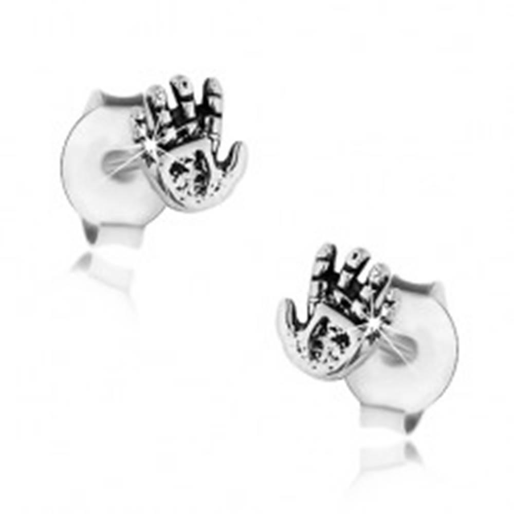 Šperky eshop Náušnice zo striebra 925, patinovaná ruka s drobnými zárezmi, puzetky