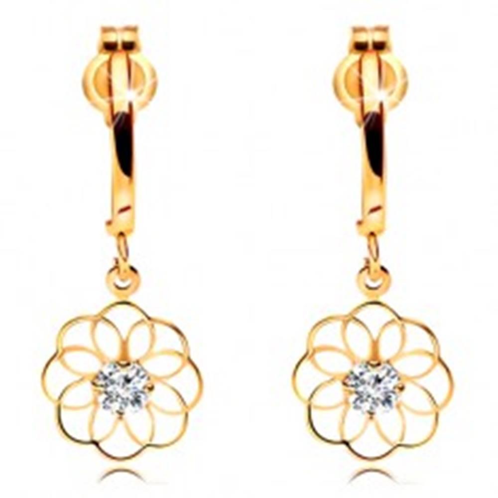 Šperky eshop Náušnice zo žltého zlata 585 - lesklý oblúk a visiaci obrys kvetu so zirkónom