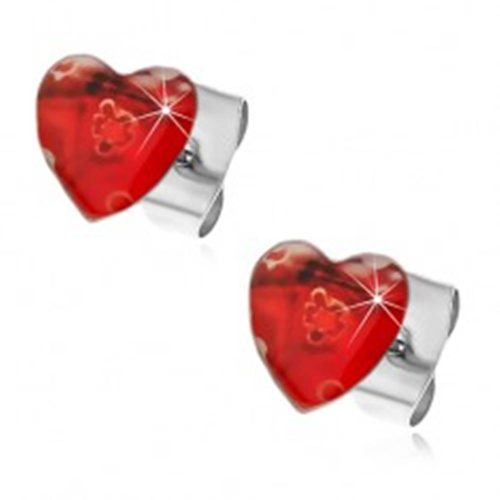 Šperky eshop Oceľové náušnice srdcové s ťahanými kvetmi