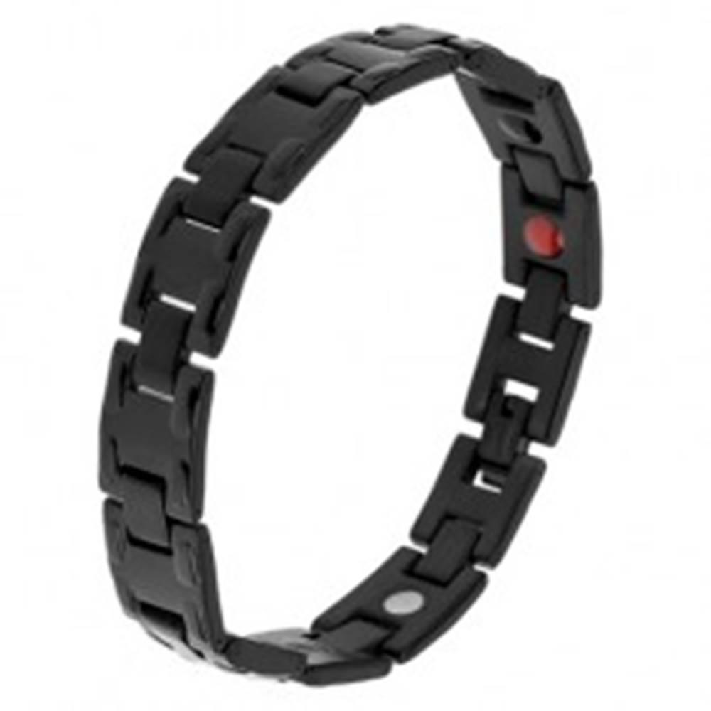 Šperky eshop Oceľový čierny náramok s lesklými článkami H, matné spoje, magnety
