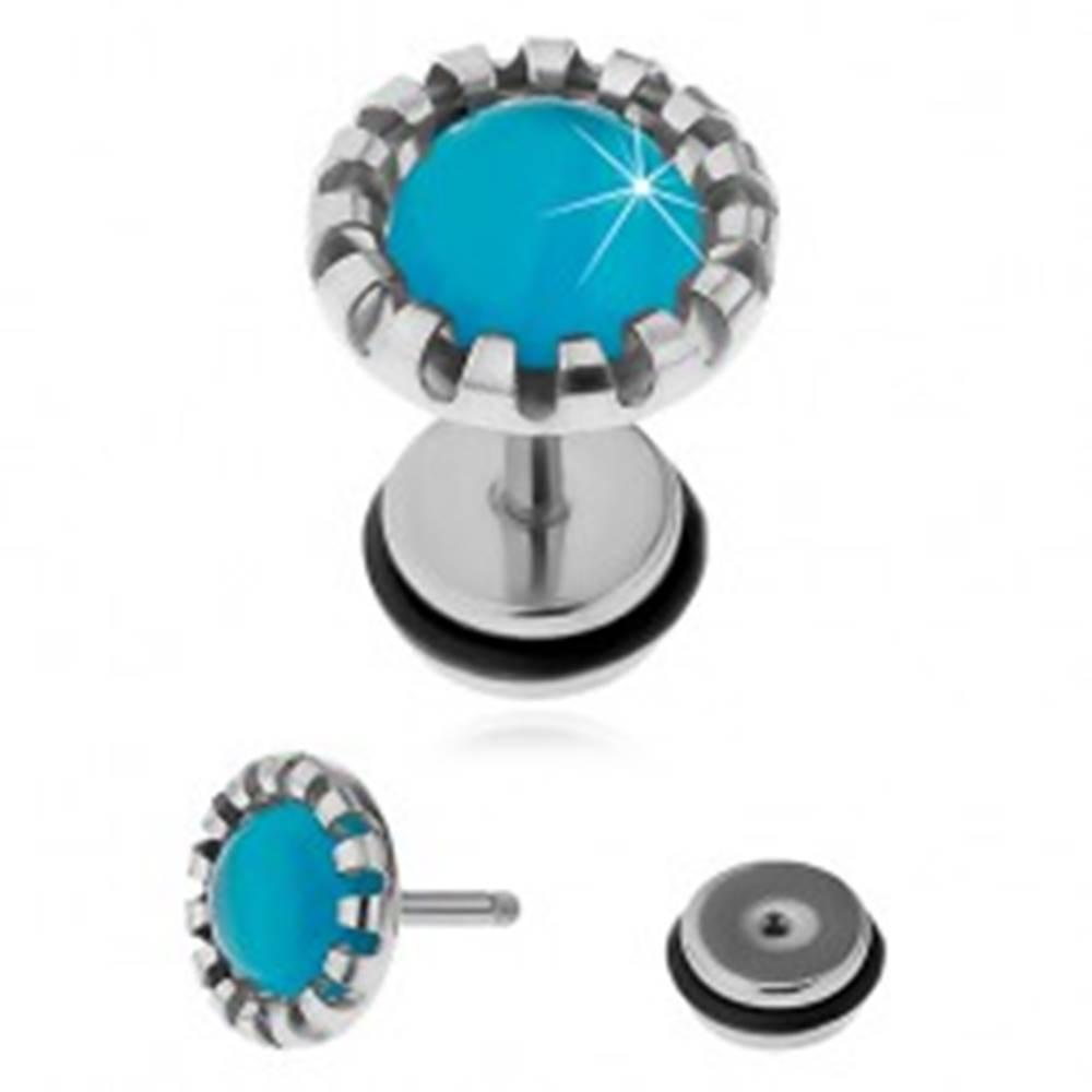 Šperky eshop Oceľový fake plug do ucha, syntetický kameň - mačacie oko svetlomodrej farby