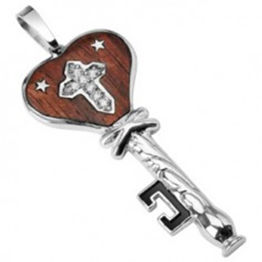 Šperky eshop Oceľový prívesok drevený kľúč s hviezdičkami