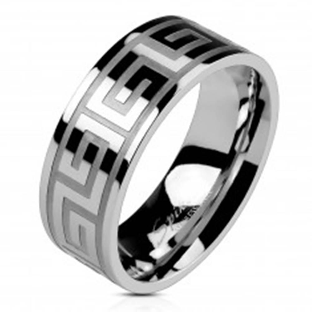 Šperky eshop Obrúčka z ocele striebornej farby, lesklý povrch, grécky kľúč, 8 mm - Veľkosť: 49 mm