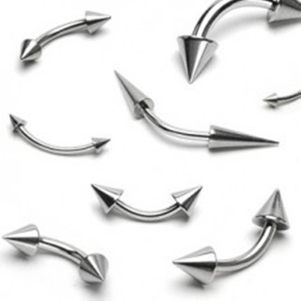 Šperky eshop Piercing do obočia z ocele - dva lesklé špicaté hroty - Rozmer: 1,2 mm x 10 mm x 3x3 mm
