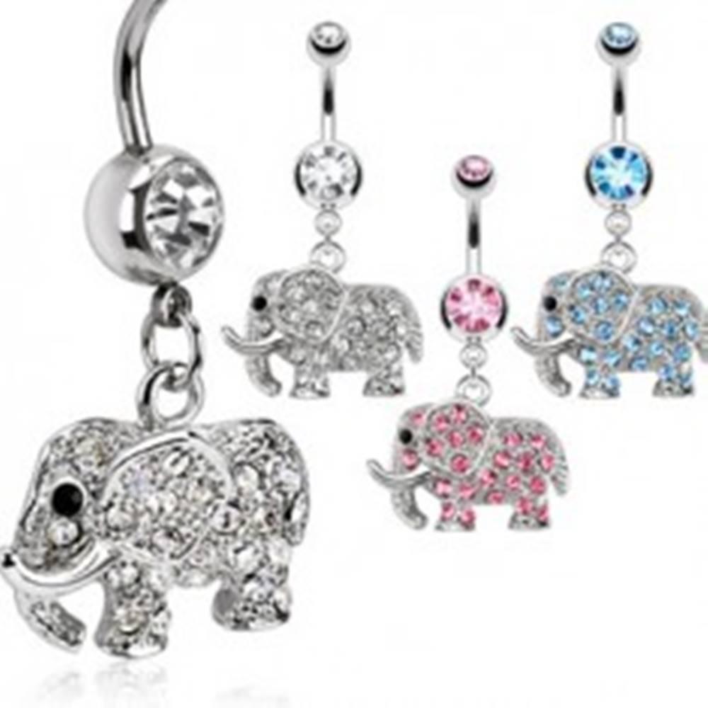 Šperky eshop Piercing do pupku - trblietavý sloník - Farba zirkónu: Aqua modrá - Q