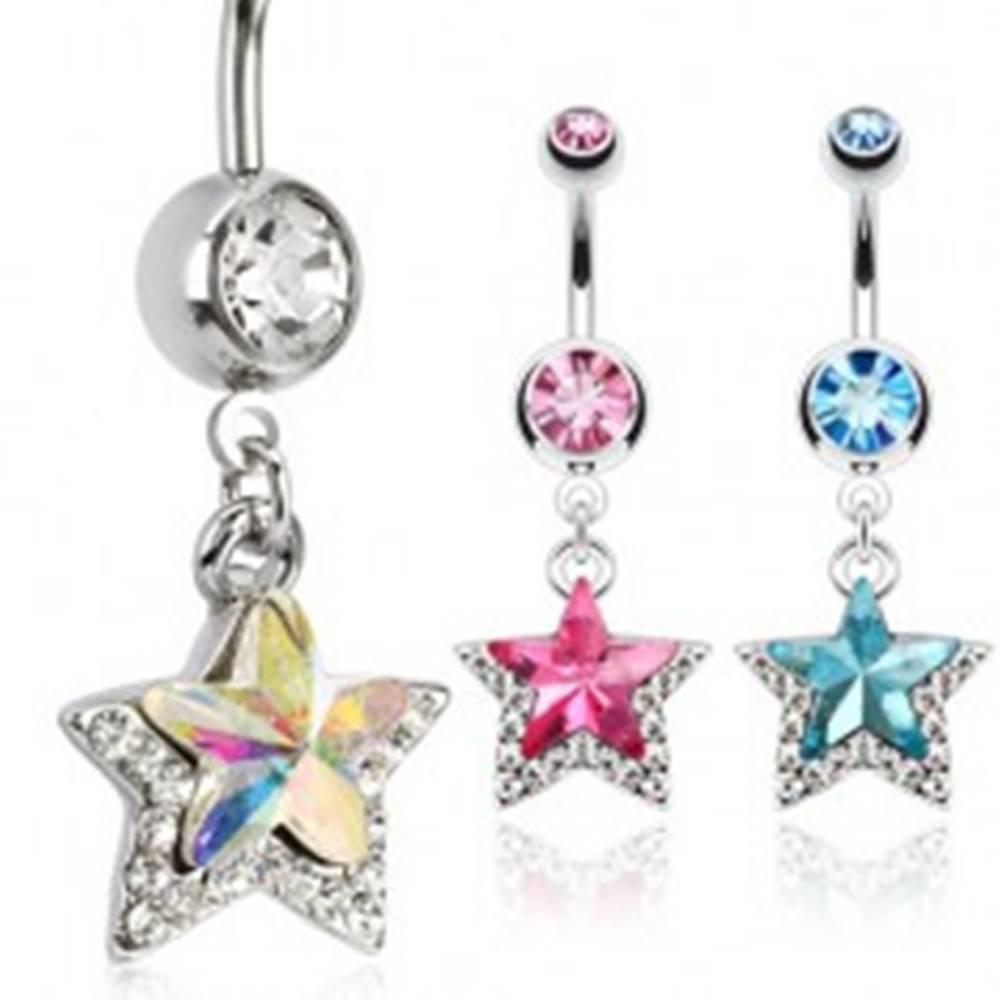 Šperky eshop Piercing do pupku z chirurgickej ocele, hviezda s kamienkami - Farba zirkónu: Aqua modrá - Q