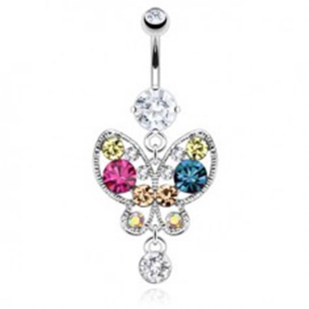 Šperky eshop Piercing do pupku z ocele - pestrofarebný motýľ