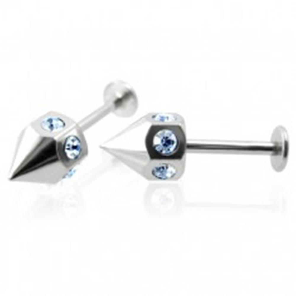 Šperky eshop Piercing labret do brady so zirkónmi po obvode - modrý, pár