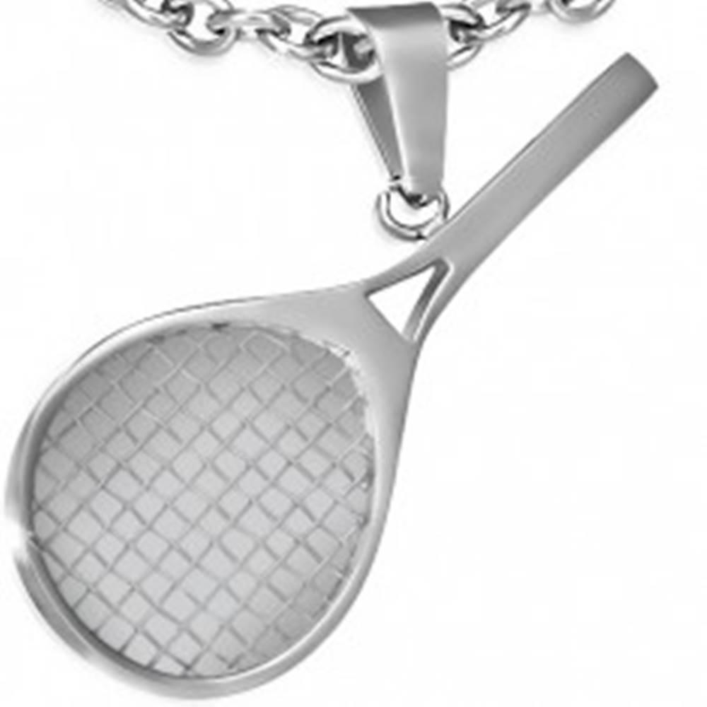 Šperky eshop Prívesok z chirurgickej ocele striebornej farby, tenisová raketa