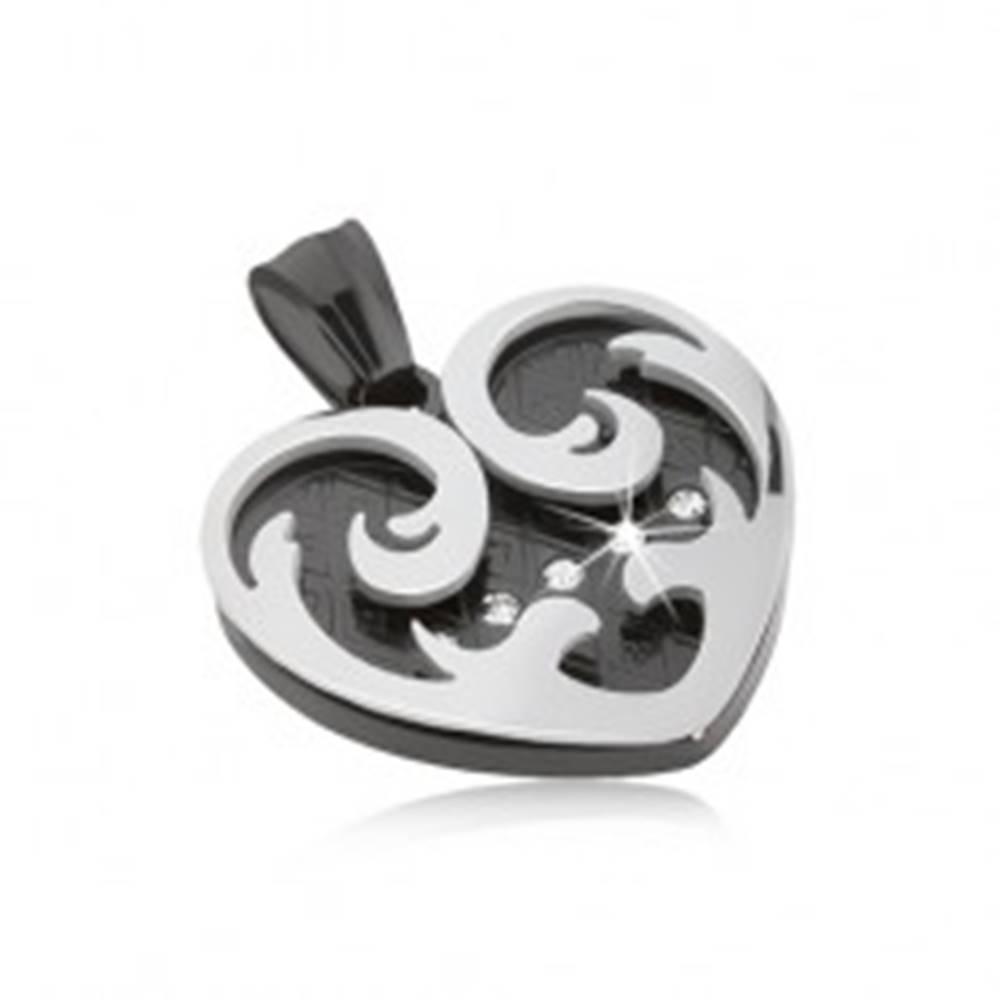 Šperky eshop Prívesok z ocele, srdce s ornamentmi v čiernej a striebornej farbe, zirkóny